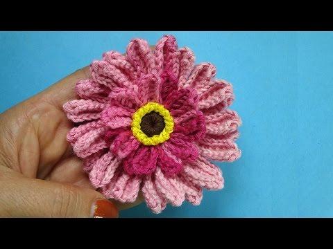 Как вязать герберу Crochet flower Вязание герберы 86