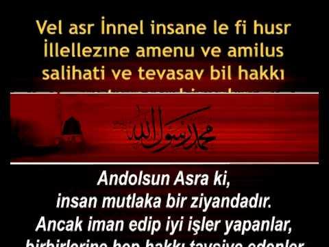 Asr Suresi Kabe İmamından Arapça Okunuşu ve Türkçe Anlamı (Meali) ile birlikte