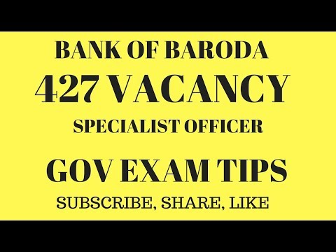 BANK OF BARODA (427 VACANCY) NOTIFICATION