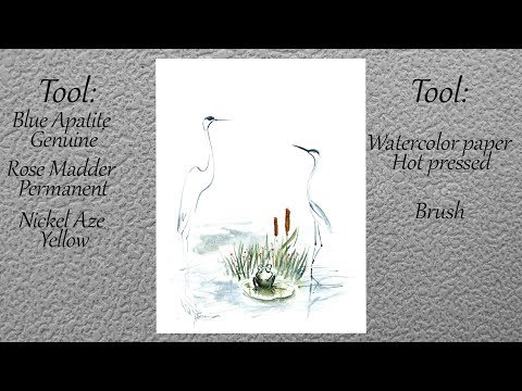 Watercolor illustration Demonstration Tutorial. Minimalist art. Easy painting.
