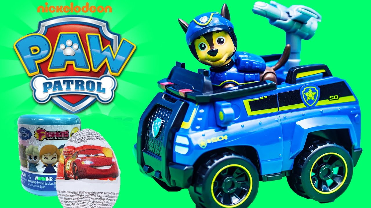 PAW PATROL Nickelodeon Chase Spy Police Cruiser with Frozen Cars