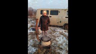 Первая зимняя рыбалка с ночевой в УАЗ буханке автодом