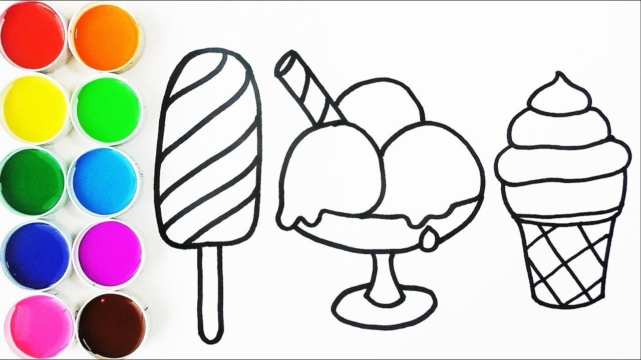 Cómo Dibujar Y Pintar Helados De Arco Iris Dibujos Para Niños Learn Colors For Kids Funkeep