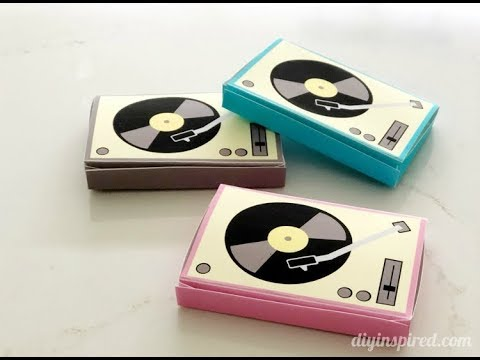 Paper Record Player Birthday Card Box with Album Cover Note Cards