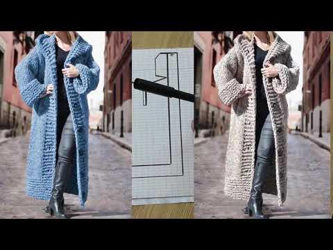 Вязаные спицами пальто с капюшоном