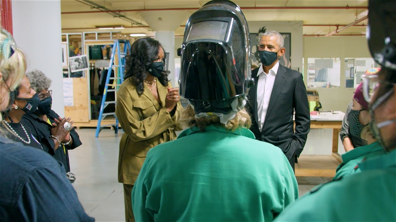 Watch President and Mrs. Obama's surprise visit to Chicago Women In Trades!