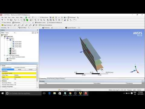 analysis of plate with stiffeners composite material ANSYS