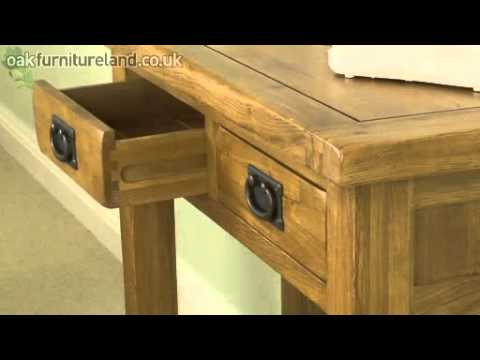 Rustic 2 Drawer Console Table From Oak Furniture Land