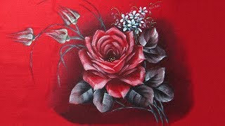 Como Pintar Rosa no Tecido Vermelho