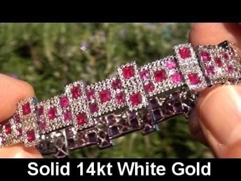 fd4e15aea27 Vintage Estate 15.72 Carat Burma Ruby   Diamond Bracelet Heavy Solid ...