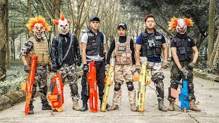 LTT Films : Squad Silver Flash Nerf Guns Fight Crime Group Camouflage Tiger Mask