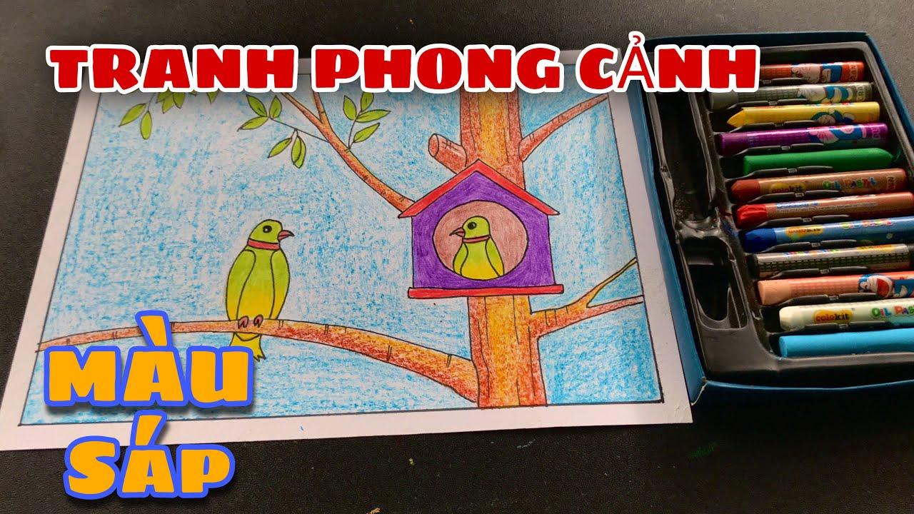 vẽ tranh phong cảnh hai chú chim BẰNG SÁP MÀU