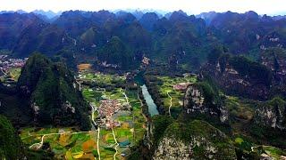 航拍广西河池市金城江区六甲镇,迷人的喀斯特地貌,游客:有山有水好地方啊Aerial photos of Liujia Town, Hechi City, Guangxi