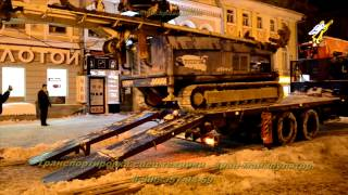 Манипулятор - трал(Транспортировка спец.техники на манипуляторе оборудованном гидравлическими сходнями.http://spasatelinn.ru/, 2015-02-10T17:28:25.000Z)