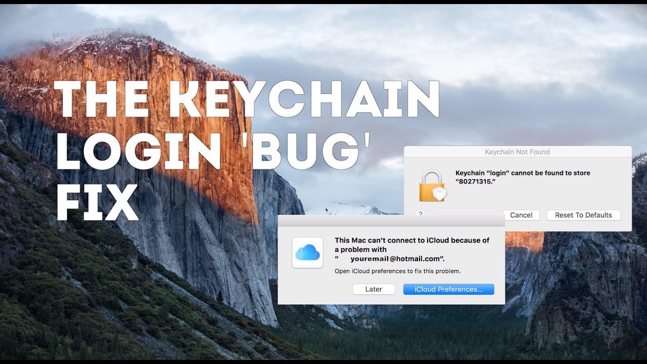 reset users login keychain
