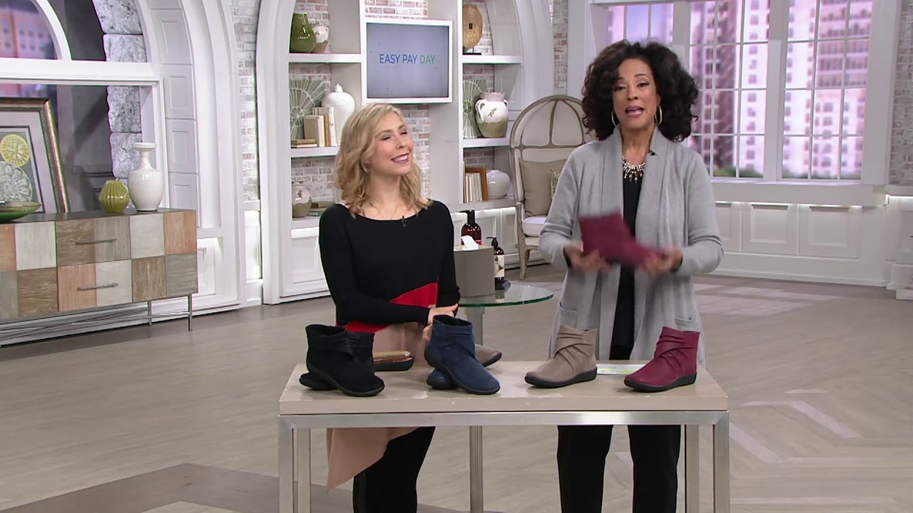 1356dc999446 CLOUDSTEPPERS by Clarks Ruched Ankle Boots - Sillian Tana on QVC ...