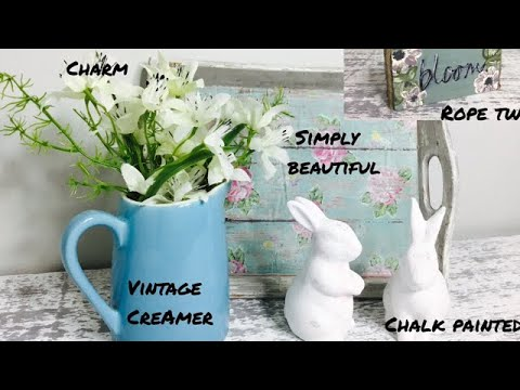 Farmhouse Style Spring Decor/DIY Vintage Tray/ Wood Block Art