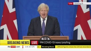 Boris Johnson holds a news conference on easing of restrictions