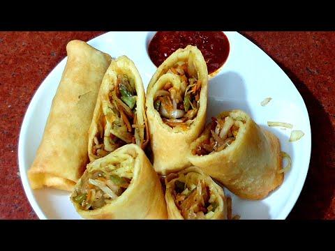 Veg Spring Roll Recipe With Homemade Sheet | Restaurant Style Spring Roll Recipe | Cook With Monika