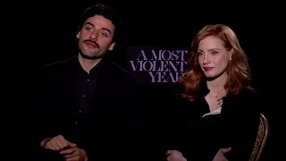 A Most Violent Year Interview With Oscar Isaac and Jessica Chastain [HD]