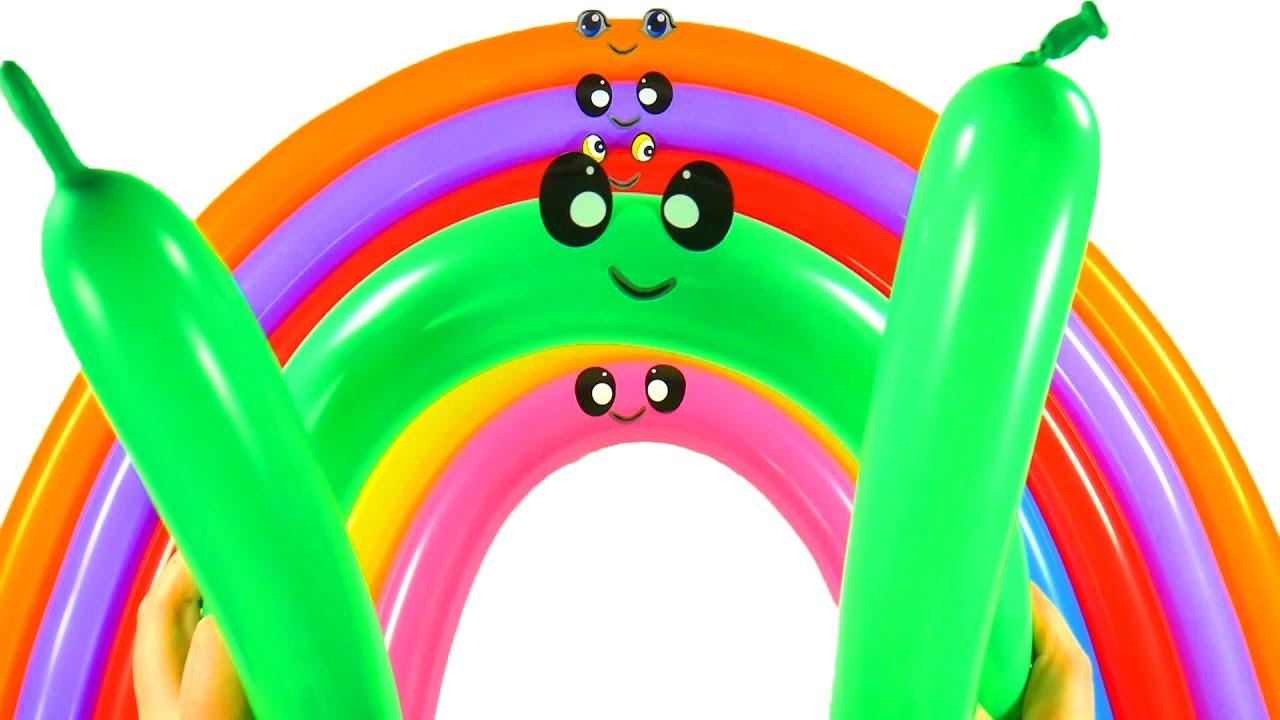 Лопаем Воздушные шарики Учим цвета Видео для детей Песня ...
