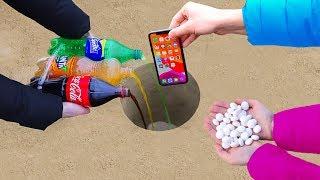 Coca Cola, Fanta, Sprite and Mentos vs iPhone Underground !