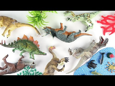 Learn dinosaurs - Brachiosaurus Triceratops Tyrannosaurus Rex for Kids - Mini Fun Toy Movie New Dino