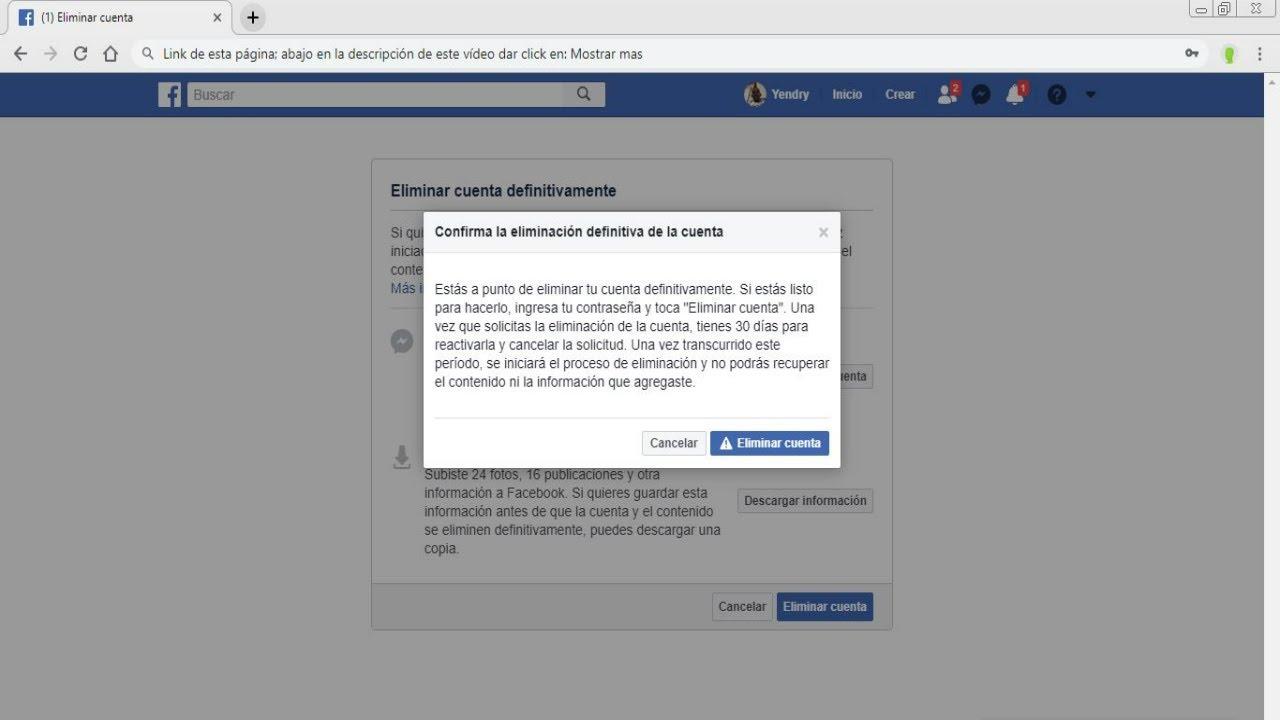 Como eliminar cuenta de Facebook en pc - YouTube