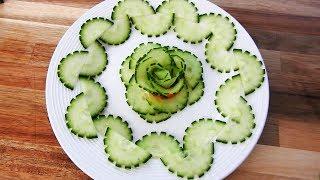 Handmade Cucumber Flower   Fruit & Vegetable Carving & Cutting Garnish