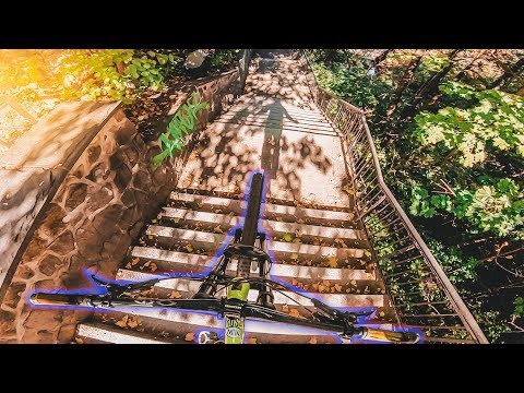 DOWNHILL MTB STAIRGAP & FLIP COMBO | Ride Life Romance Behind The Scenes 3