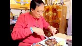 Wagyu Kobe Rib Eye Steak Dinner 12-31-09 9:40 P.m. - Nides & Lu New Yrs Eve Dim Lights!