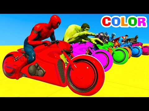 Thumbnail: LEARN Color Motorcycles on BUS & Spiderman Cars Cartoon for kids with Superheroes for babies!