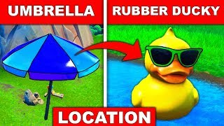 Visit a GIANT BEACH UMBRELLA and a HUGE RUBBER DUCKY in a Single Match - LOCATION FORTNITE SEASON 9