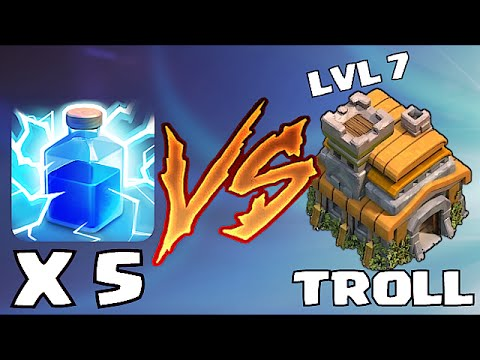 Clash Of Clans -LIGHTNING TROLL w/ TH7 DESTROYED!!  (Trolling in bronze league)