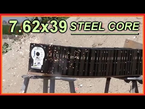 AK47 VS 47 Hard drives -- 7.62 x 39 STEEL Core and FLINT Tip Bullets