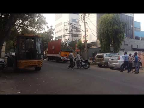 Unloading new Royal Enfield at Chandigarh service centre