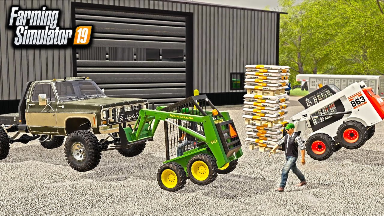 SKID STEER LIFTING BATTLE! (JOHN DEERE VS BOBCAT) | FARMING SIMULATOR 2019