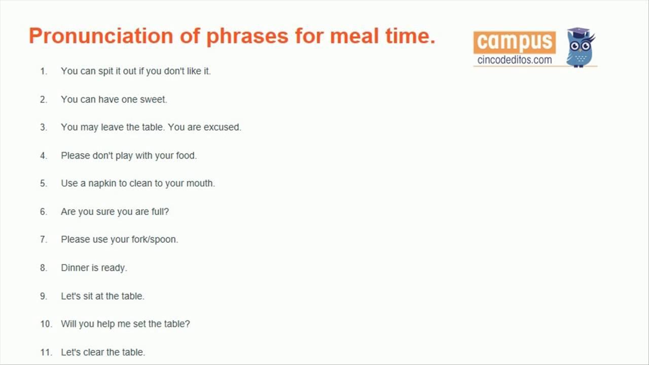 Frases En Inglés Para La Comida