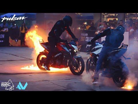 Pulsar NS 200  STUNTS | Fire Show | Ghost Ryderz