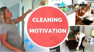 POWER HOUR CLEAN WITH ME | 8 months pregnant | cleaning motivation