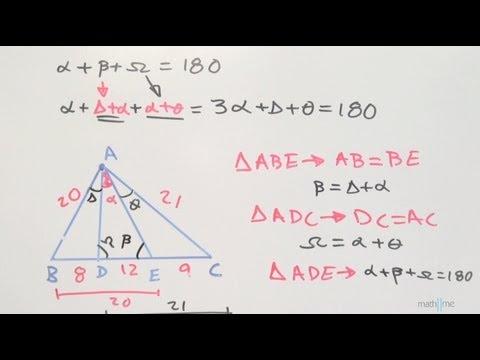 Encontrar Medida De Un Angulo En Un Triangulo Dando Segmentos