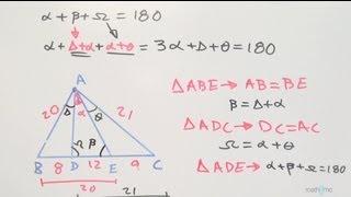 Encontrar medida de un ángulo en un triángulo, dando segmentos