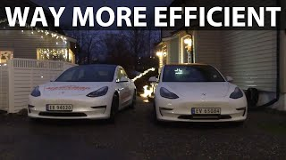 Heat pump test of 2021 Model 3 vs 2019 Model 3