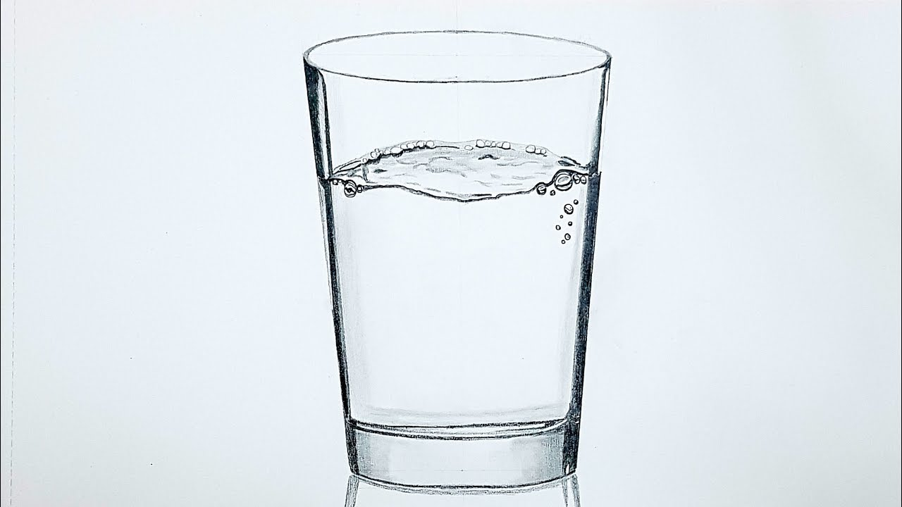 How to draw a glass of water realistic pencil drawing technique time lapse