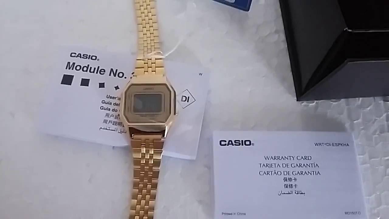 13efcdea4d6 Relógio Feminino Casio LA-680WGA-9BDF Vintage Dourado