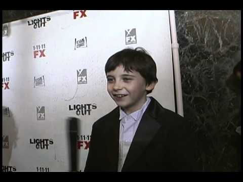 with actor Seamus DaveyFitzpatrick at the Lights Out Premiere