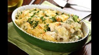 Przepisy - Zapiekane brokuły z kalafiorem w sosie serowym (przepisy kulinarne przepisy.pl)