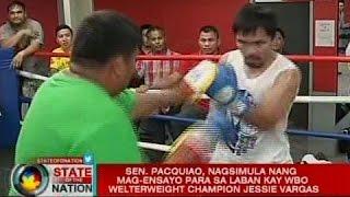 Sen. Pacquiao, nagsimula nang mag-ensayo para sa laban kay WBO Welterweight Champion Jessie Vargas
