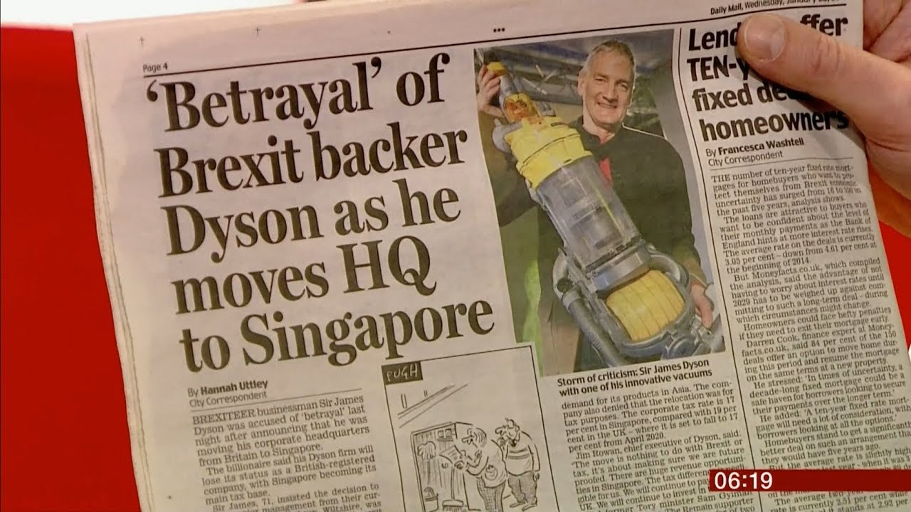 Dyson Headqaurters Switching To Singapore Uk Global Bbc News 23rd January 2019