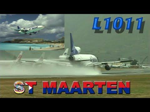 L1011 Tristar at St Maarten + Wet Runway Takeoff (2000)